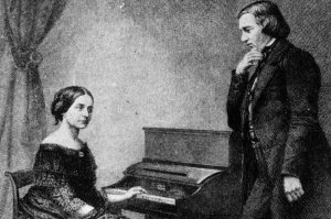 German composers Robert Alexander Schumann (1810 - 1856) and wife Clara Schumann (1819 - 1896) who is playing the piano. Original Artwork: An engraving from a daguerreotype .   (Photo by Hulton Archive/Getty Images)